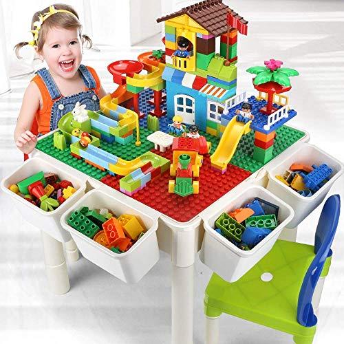 zcsdf Outdoor-Reisezubehör Kindermehrzweckbaukasten mit Aufbewahrungsbox und Forschungstisch für 2 Jahre altes oder älteres Kind - Lego Großen Grundplatten