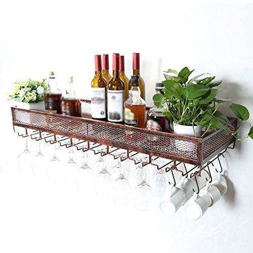 IAIZI Wine Shelf An der Wand befestigter Wein-Zahnstange, Glaskelch-Halter gedrehtes hängendes kreatives Becher-Halter-industrielles Wind-Wand-hängendes Gestell (Size : 80 * 35cm)