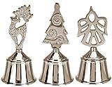 matrasa Silberne Handglocke Xmas - Weihnachtliche Tischglocke 12 cm - Engel