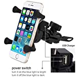 MASO Universal Motorcycle Motorbike Mobile Phone Mount Holder X Grip Clamp USB Charge Fits for 3.5-6 Inch Smart Phone