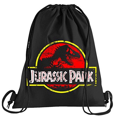 (Touchlines Jurassic Park Distressed Logo Sportbeutel – bedruckter Turnbeutel mit Kordeln)