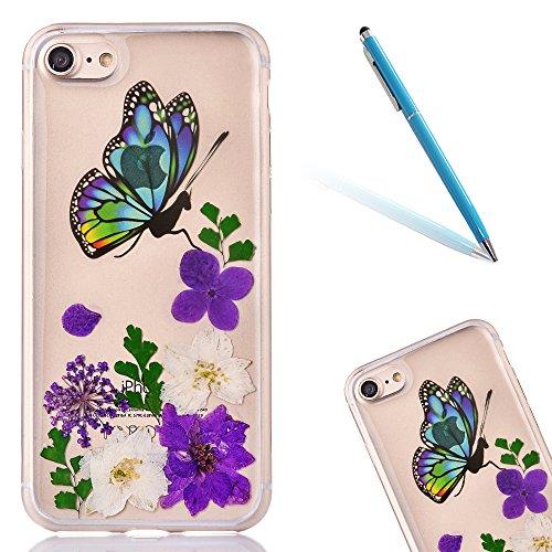 "iPhone 6s Handyhülle, CLTPY iPhone 6 Transparent Klare 3D Motiv Fall, [Ultra Hybrid] Echte Getrocknete Blumen Series Etui, Dünne Stoßfest Gummi Case für 4.7"" Apple iPhone 6/6s + 1 Stylus - Floral 14 Floral 16"