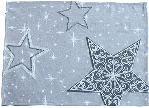 matches21 Weihnachtliche Tischläufer/Mitteldecke Sternen-Zauber hellgrau mit Druck & Stick weiß & grau 35x50 cm