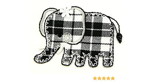 Embroidered iron or sew on fabric motif applique black white