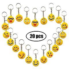 Idea Regalo - YuChiSX Portachiavi Emoji, Portachiavi Decorazioni,Confezione da 20 Portachiavi Emoticon Emoji Incantevole per Bambini, Bomboniere per Bambini,per Il Giorno dei Bambini, Natale, Compleanni