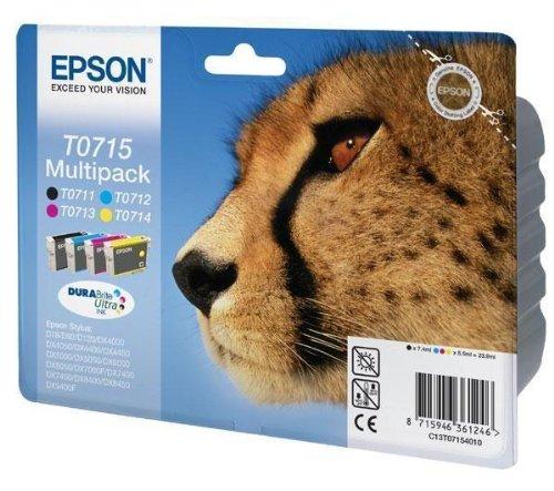 Cartouche d'encre-Multipack T0715 4 cartouches d'encre Noir/cyan/magenta/jaune pour imprimante EPSON Stylus DX4000 DX4050 DX5000, DX5050, DX6000, DX6050, DX7000F, D78 D92 C13T07154010 EPSON (,)