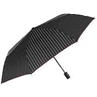 Folding Umbrella Boys Men - Striped Ultra Light Umbrella - Big Windproof and Resistant Brolly in Fiberglass - PFC Free - Microfiber - Automatic Open Close - Diam 102 cm - Perletti Technology