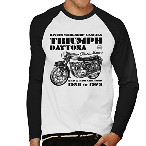 Haynes Owners Workshop Manual Triumph Daytona 350 500 Men's Baseball Long Sleeved T-Shirt - Daytona Spiel 500