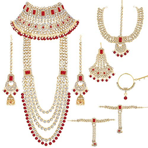 Peora Ethnic Indian Traditional Kundan Dulhan Bridal Jewellery Set for Women