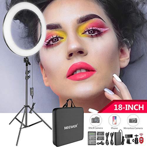 Neewer Ring Light LED 18-Pouces - Anneau Lumière avec Pied pour Maquillage Youtube Photo Studio Vidéo Salon, Eclairage LED avec Température Couleur Réglable, Porte-Smartphone Fournis