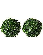 Fourwalls PVC Plastic Artificial Eucalyptus Boxwood Topiary Grass Ball(18 cm Total Diameter, Green, Set of 4)