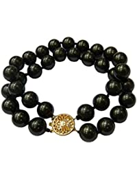 Schmuckwilly Muschelkernperlen Perlenarmband Perlen - Muschelkernperlen Armband 2-reihig schwarz Hochwertige mb0048