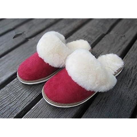 ZHLONG Zapatillas de algodón casual de damas en el interior para mantener caliente en otoñales e invierno zapatillas de piel de oveja , 3 , 35