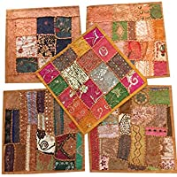 Set of 5 Pcs Indian Home Decor Thread Embroidery Decorative Cushion Cover Size 16 X 16 Inches (Brown)