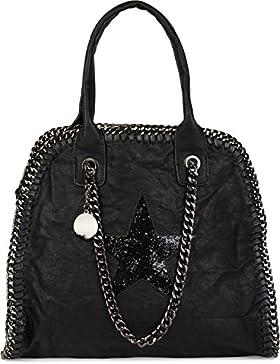styleBREAKER Shopper Handtasche mit Kette und Pailletten Stern Cutout, Vintage Schultertasche, Tote Bag, Tasche...