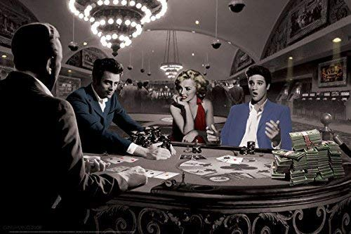 Rahmen-Kunst Keilrahmen-Bild - Chris Consani: Royal Flush Leinwandbild Marilyn Monroe Elvis Presley James Dean Poker-Spiel (80x120) (Bilder Marilyn Und Monroe Elvis)