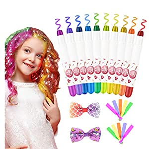 Pascua de Resurrección Tiza de Pelo Temporal del Pelo, Tinte para el cabello 10 Colores Tizas para el Pelo Tiza de Pelo Temporal para Niños Plumas De Tiza Para El Cabello, Plumas Tinte Para El Cabello
