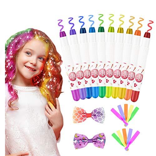 Haarfärbemittel Haarkreide für Mädchen, Emooqi 10 Farben Temporäre Haarfarbe Auswaschbar Haarkreide für Kinder, Haarschmuck mit Haargummi & Haarspange für Mädchen Geschenke Karneval Weihnachten