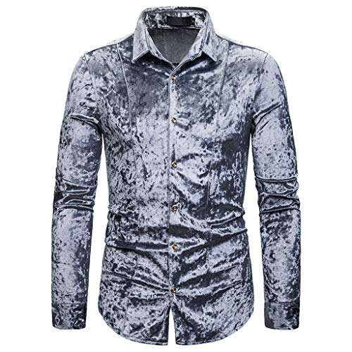 Xmiral Hemd Tops Herren Kurzer Plüsch Lange Ärmel Slim Fit Umlegekragen Einfarbig Polohemd Herbst T-Shirt Hemden Sweatshirt(Grau,S)