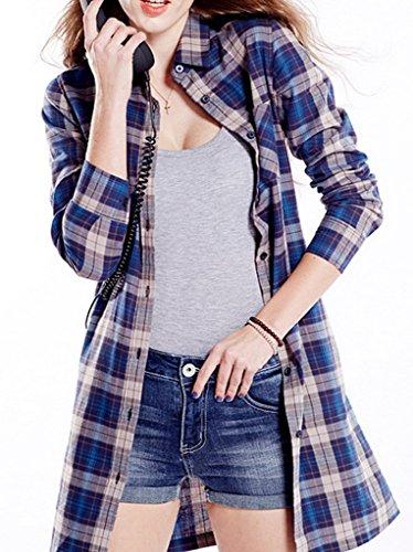 Bigood Chemise Femme Coton T-shirt Blouse Manche Longue Carreaux Casual Royal Bleu