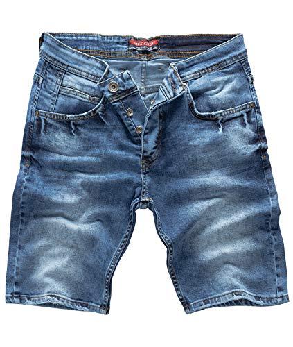 Rock Creek Herren Shorts Jeansshorts Denim Stretch Sommer Shorts Regular Slim [RC-2122 - Used Blue W32] -