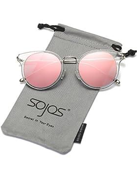 SojoS Schick Klassische Retro Runde Verspiegelt Sonnenbrille Unisex für Herren Damen SJ1050
