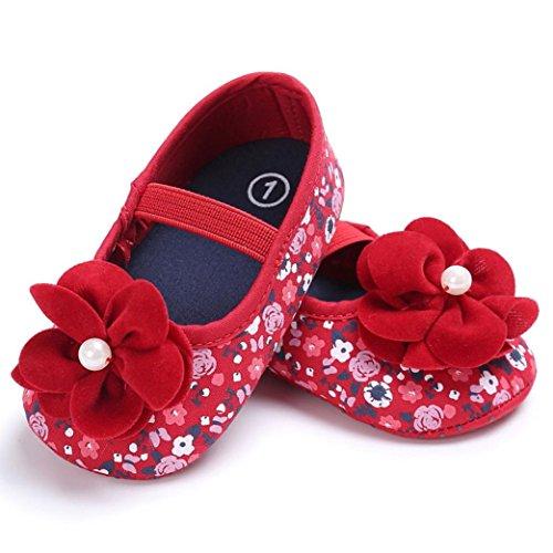 Hunpta Kleinkind Baby Mädchen Blume gedruckt Krippe Schuhe weichen Sohle rutschfest Sneakers (6 ~ 12 Monate, Rot) Rot