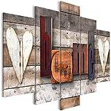 decomonkey Bilder Home 225x112.5 cm XXL 5 Teilig Leinwandbilder Bild auf Leinwand Vlies Wandbild Kunstdruck Wanddeko Wand Wohnzimmer Wanddekoration Deko Haus Holz