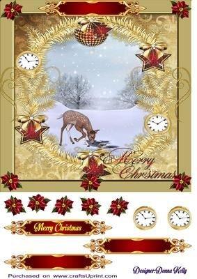 Inverno scena di Natale dorato da donna