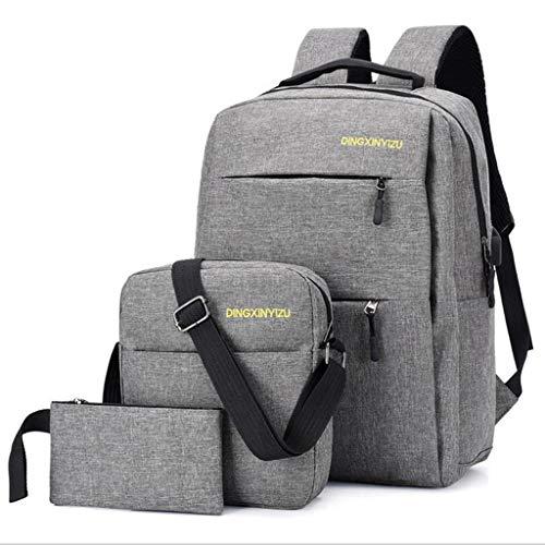 Dreiteilige Mode Rucksack mit USB-Ladeanschluss im Freien Reisetasche Laptoptasche für Männer Frauen passt 16-Zoll-Laptop und Notebook (Color : Gray) 16 Im Notebook