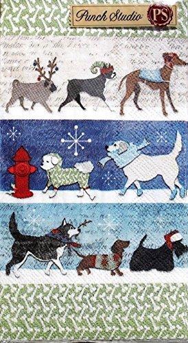 Kostüm Hunde Parade - Winter Urlaub Hunde auf Parade in Snow Kostüm Papier Serviette Gästetuch