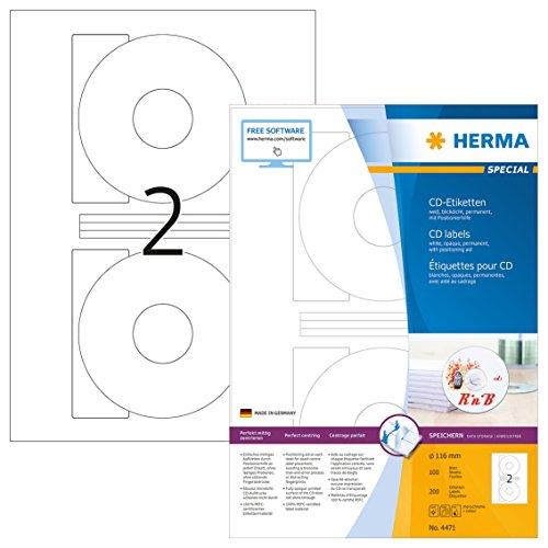 HERMA 4471 CD-Etiketten inkl. Positionierhilfe DIN A4 blickdicht (Ø 116 mm, 100 Blatt, Papier, matt) selbstklebend, bedruckbar, permanent haftende CD-Aufkleber, 200 Klebeetiketten, weiß (Cd-cover-etiketten)
