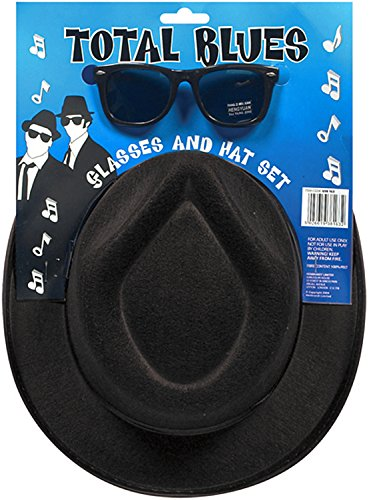 BLUES BROTHERS HAT GLASSES SET 2 TONE SKA ACCESSORY MENS STAG NIGHT FANCY DRESS#Glasses & Hat Set#One Size