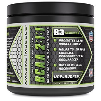 Amazing Muscle BCAA Dietary Supplement - 2:1:1 Branched Chain Amino Acid Ratio –Net Weight 1.1lb
