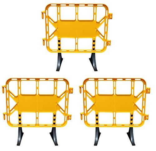 Kit 3 Vallas de plástico obra peatonal en color amarillo, valla con patas extraíbles de 1 metro