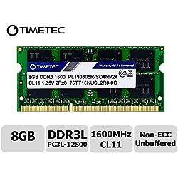 Timetec Hynix IC 8GB DDR3L 1600MHz PC3-12800 Unbuffered Non-ECC 1.35V CL11 2Rx8 Dual Rank 204 Pin SODIMM Ordinateur Portable Mémoire RAM Module Upgrade (8GB)