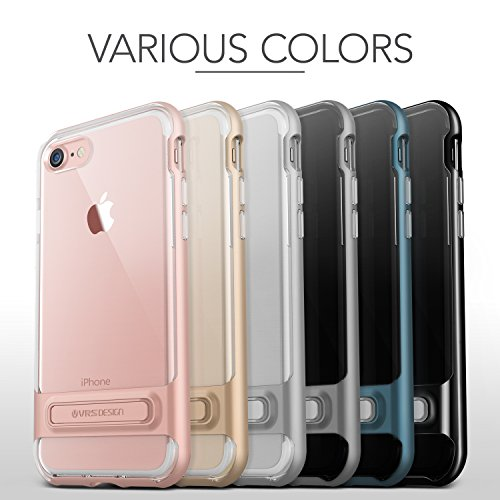Housse de iPhone 7 VRS Design® Coque de protection en silicone [] or rose transparent frappe festen pare-chocs Transparent Case TPU Housse Etui CLEAR Cover [Crystal Bumper] pour Apple iPhone 7 2016 Gris Foncé