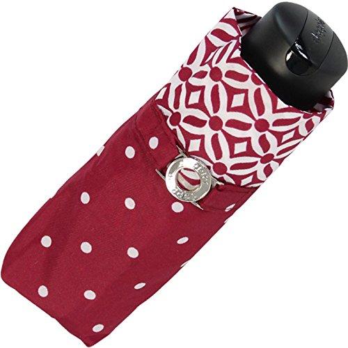 Doppler Mini XS Damen Taschenschirm klein und leicht - Nizza Dots - bordeaux