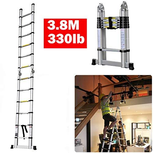 Teleskop-Leiter, ausziehbar, 3,8 m, 330 lb Kapazität, klappbare Leiter, 12 Stufen, ausziehbar, zusammenklappbar, Aluminium, leicht, tragbar, für drinnen und draußen