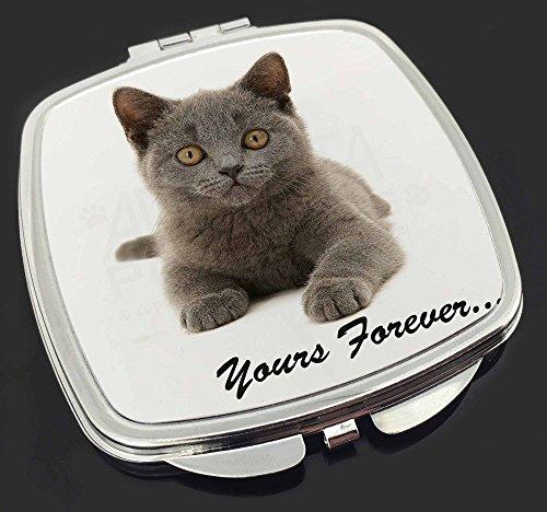 Silver Blue Cat ' Yours Forever' Make-up Taschenspiegel Weihnachtsgeschenk