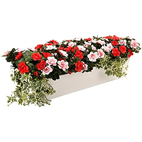 Closer To Nature–Ramo de flores artificiales rosa y rojo pantalla de Azalea en un color blanco brillante 80cm Maceta.–Cama artificial enchufe planta y rango de visualización