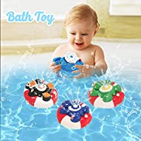 WISHTIME Spray Water Baby Bath Toy Water Pump Electronic Spray Toy Float Rotate With Fountain Floating Bathtub Shower Bathroom Toy For Baby Toddler Infant Kid Party (Turtle)