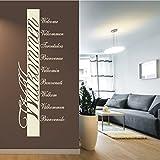 HomeTattoo ® WANDTATTOO Wandaufkleber Banner Willkommen Welcome Sprachen Flur Motiv 427 XL ( L x B ) ca. 160 x 58 cm (weiss 010)