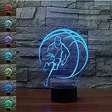 HPBN8 3D Basketball Lampe USB Power 7 Farben Amazing Optical Illusion 3D wachsen LED Lampe Formen Kinder Schlafzimmer Nacht Licht.