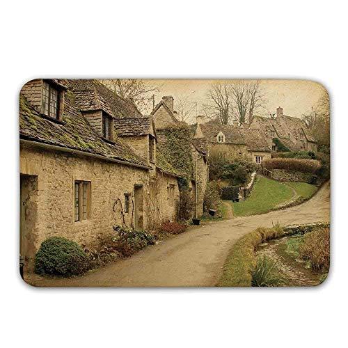 Kinhevao Bauernhof-Haus-Dekor-Gummirücken-rutschfeste Tür-Matten, britische Stadt mit Steinhäusern Retro- England-Landschafts-Gebäude-Bild-Fußmatten-Fußmatten-Wolldecken