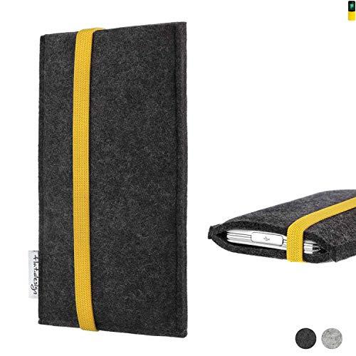 flat.design Handy Hülle Coimbra für Nokia 8110 4G passgenau Handytasche Filz Tasche fair schwarz gelb