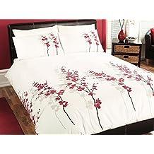 J Rosental & Son ORFRD21PGD - Juego de funda de edredón y dos almohadas , 200 x 200cm, 50 x 75cm, ajustable para cama de matrimonio, color rojo y blanco, diseño de flores