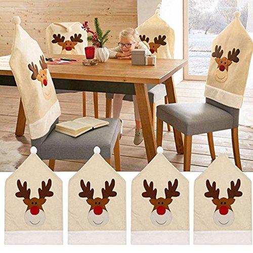 Fundas para sillas de Navidad, 4 Piezas Fundas para sillas de Reno...