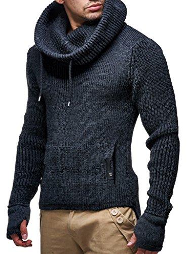 Leif Nelson Herren Strick-Pullover Strick-Pulli mit Schalkragen Moderner Woll-Pullover Langarm-Sweatshirt Slim Fit, Dunkel Grau, L