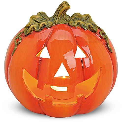 matches21 Kürbis Windlicht Halloween Deko Laterne Jack 'O Lantern Türkürbis mit gruseliger Fratze 18x17 cm aus Ton Tonkürbis